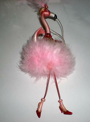 PINK FLAMINGO CHRISTMAS HOLIDAY PARTY ORNAMENT LOTS of FEATHERS, GLITTER & GLAM