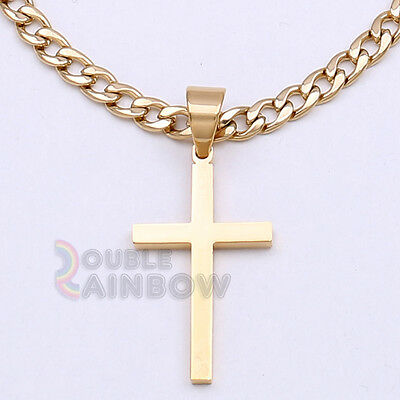 """8P30 18-36"""" Men's Stainless Steel Gold Cross Pendant 6MM Cuban Necklace Chain"""