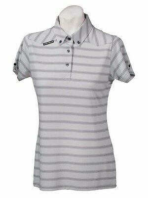 New Ladies Golf Shirt -Golf Polo -Micro Dry -Crest Link Grey Stripe - Size Large