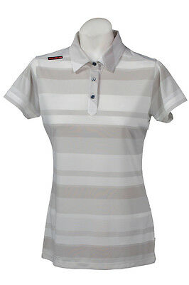 New Ladies Golf Shirt -Golf Polo -Micro Dry -Crest Link White Grey - Size Large