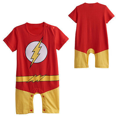 Baby Boy The Flash Costume Romper Newborn Summer Jumpsuit Infant Playsuit Outfit