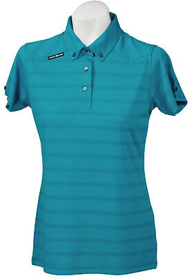 New Ladies Golf Shirt - Golf Polo - Micro Dry -Crest Link Blue Stripe - Large