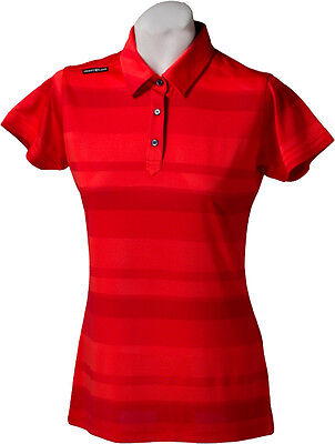 New Ladies Golf Shirt - Golf Polo - Micro Dry -Crest Link Red Stripe - Large