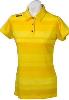 New Ladies Golf Shirt - Golf Polo - Micro Dry -Crest Link Yellow Stripe - Large