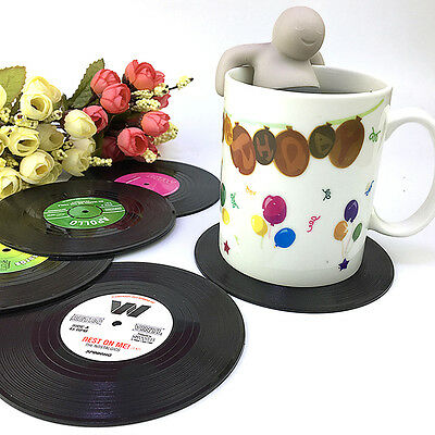 6PCS Round Vinyl Coaster Record Cup Groovy Drinks Holder Mat Placemat Tableware