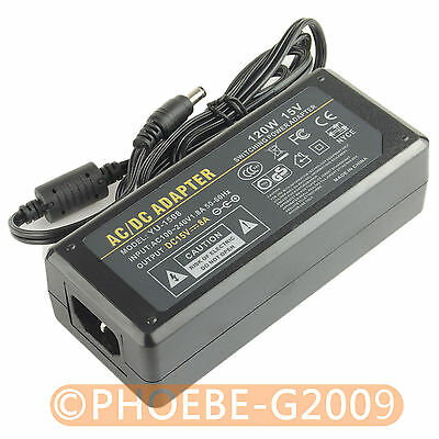 15V 8A 120Watt Power Supply Adapter 100-240V AC to DC 5.5 x 2.5mm/5.5 x 2.1mm