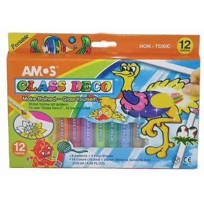 Amos Crafts Glass Deco Window Painting Paints - 12 Colours
