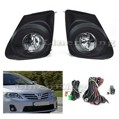 Fog Lights Kit Bumper Light Lamps - Clear For 11-13 Toyota Corolla FL7012