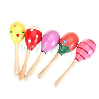 Baby Wooden Maraca Rattle Shaker w/ handle Percussion Musical Instrument Toy