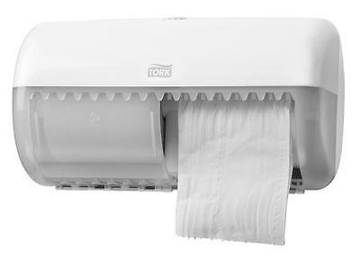 Tork 557000 Twin Conventional Toilet Roll Dispenser T4 White