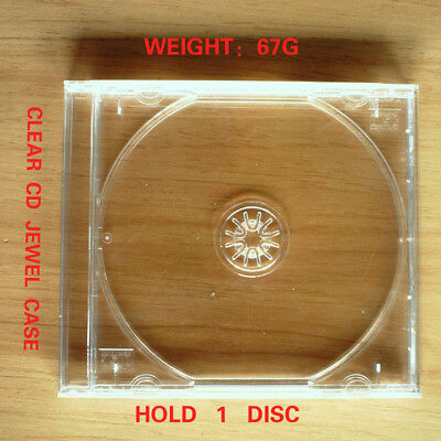 1PCs New Standard Clear Tray CD Jewel Case Hold 1 Disc