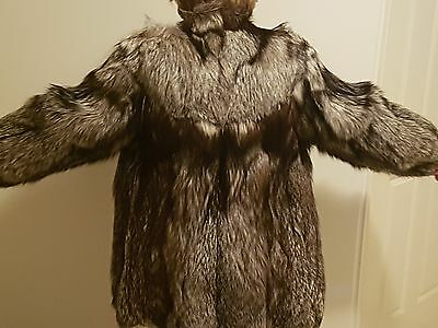 Vintage European Silver Fox Womens Fur Coat