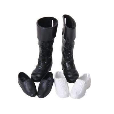 3 Pairs of Plastic Ken Royal Prince For Barbie Doll Shoes -White and Black