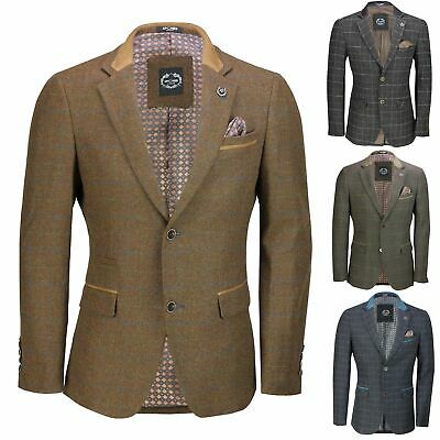 3bc9a0f0e9e1 Mens Vintage Tweed Herringbone Check Blazer in Grey Brown Green Designer  Jacket
