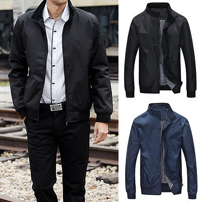 Fashion Winter Men's Casual Slim Fit Jacket Stand Collar Zip Coat Outwear Tops