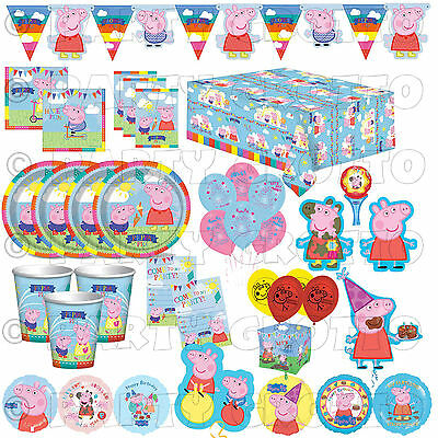 PEPPA PIG Happy Birthday Party Supplies Tableware Decorations Balloons Banners