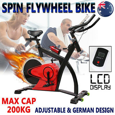 Commercial Spin Flywheel Bike Exercise Adjustable Noiseless Bicycle Home Gym OZ