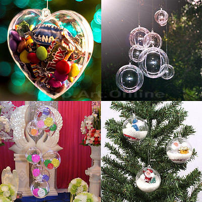 5/10 Ball Plastic Christmas Baubles Clear Fillable Xmas Tree Decoration Ornament