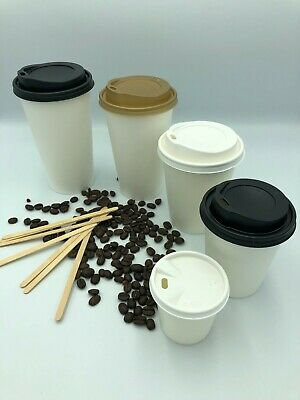 Disposable Paper Coffee Tea Cups WHITE 12oz & Sip Lids for Hot Drinks,Takeaway
