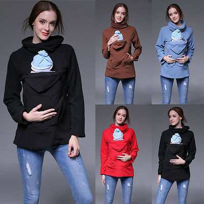 Women's Maternity Sweatshirt Babywearing Carrier Back Front warm fleece Hoodie