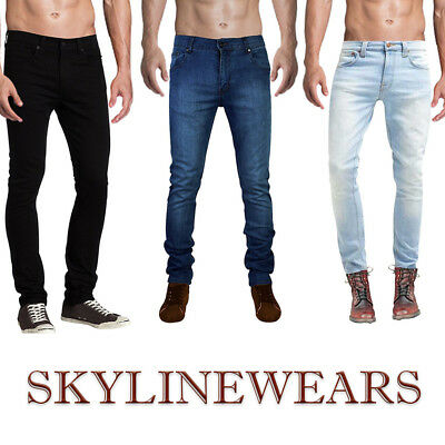 Mens Denim Skinny Slim Fit Stretch Jeans Biker Pants Casual Pant All Sizes 30-40
