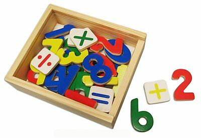 SALE Wooden Magnetic Numbers Maths 37 pc Set  Fridge Magnets Educational Toy