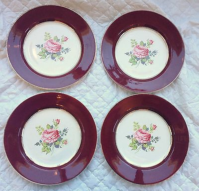 "4 Wade ""ROYAL VICTORIA"""" Dinner Plates - Burgundy with Pink Roses 909"
