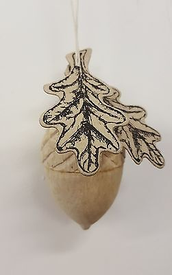 Large Wooden Acorn with Leaves Hanging Ornament - Vintage Style Decoration Gift