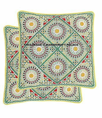 2 PCS Ethnic Handmade Indian Embroidered Work Throw Pillow Floral Cushion Cover
