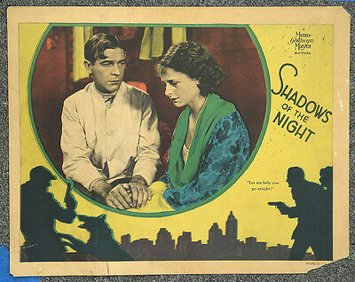 Shadows Of The Night '28 Crime Thriller Lawrence Gray Silent Lobby Card