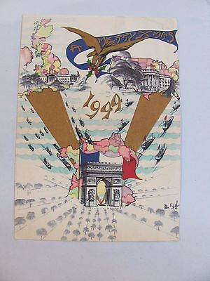 """Vintage 1944 Christmas Card WWII WW2 Invasion of France USA Japan """"A Merrry Xmas"""