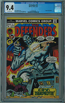 Defenders #5 Cgc 9.4 Origin Of Valkyrie High Grade Off-White Pages Bronze Age