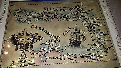 vintage 1971 Framed Map of the CARIBBEAN ISLANDS   Cruise 16x20
