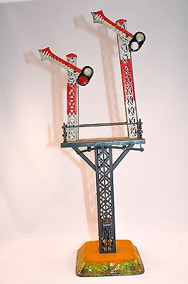 Vintage  Pre-War Bing Works Double Semaphore with lights