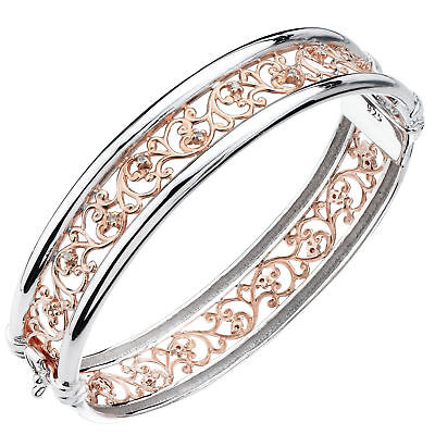 Rose Gold And Sterling Silver Diamond Bangle (1/5 CT) Swirl Style