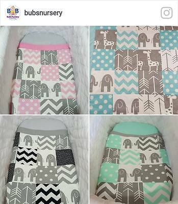 New Handmade Elephant patchwork bassinet/cradle quilt sets - 4 Colours available
