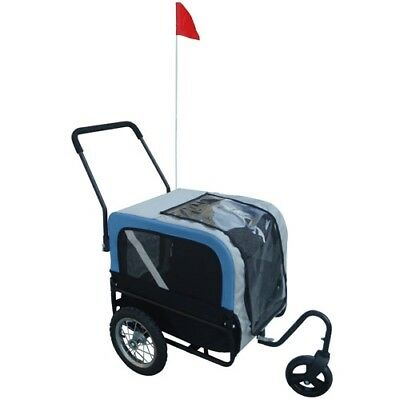 Dog Bike Bicycle Trailer Storller Jogger Outdoor Grey And Blue