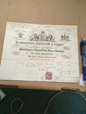 Historic Vintage Receipt Bill Invoice London England Faulding Stratton Damask