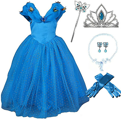 Cinderella Butterfly Party Dress Costume with Accessories