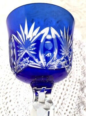"""Two Beautiful Wine Goblet Cobalt Blue Cut To Clear Crystal  Long Stem 7"""" Tall"""
