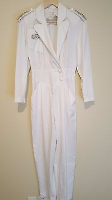 Vintage 80s White Studded Jumpsuit Romper - Small - Bling Pantsuit