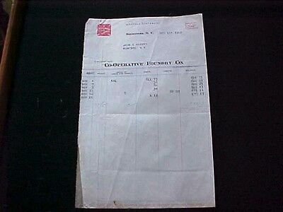 Used Billhead 1916 Cooperative Foundry Co. Rochester Ny Red Cross Stoves
