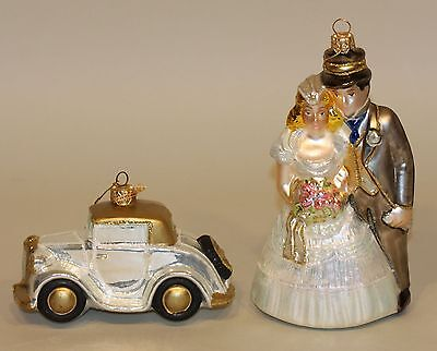 SIGNED Polonaise Ornaments Wedding Couple Bride & Groom + Just Married Old Car