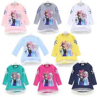 Kids Toddler Girls Frozen Elsa Anna Sweatshirt Pullover Lace Top Hoodies Clothes