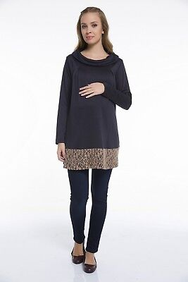 NEW Pullover Maternity Knit Blouse Maternity Sweater Size 38 - 44 Blue