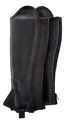 Borraq Black Soft Leather Gaiters with Foreway Elastic Gusset - All Sizes