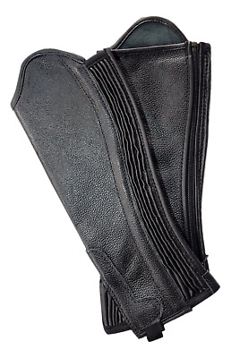 Borraq Black Soft Leather Gaiters with Ribbed Covered Elastic Gusset - All Sizes