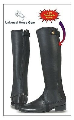 Borraq Black Leather Gaiters with Elastic with Top Fastener