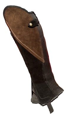 Borraq Black Suede Leather Comfort Gaiters with Brown Suede Feature Panel