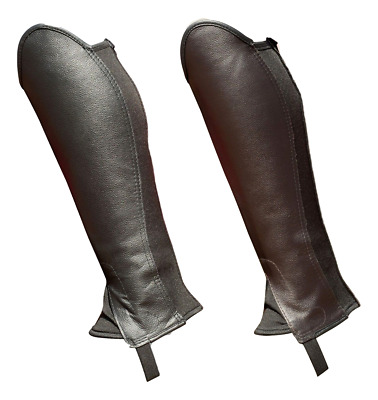 Borraq Black & Brown Soft Leather Reversible Magic Gaiters